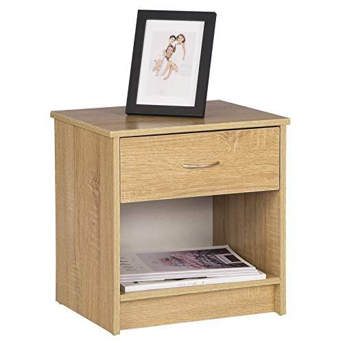 WOLTU Nachttisch TSG14hei Nachtkommode Nachtschrank Beistelltisch, mit Schublade und Offenem Fach, Holz, Eiche, 36x30x38cm(BxTxH)