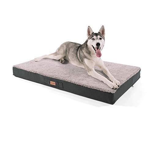 """brunolie """"Balu"""" Hundebett, waschbar, orthopädisch und Rutschfest, Hundekissen mit kuscheligem Plüsch, Größe XL, Grau"""