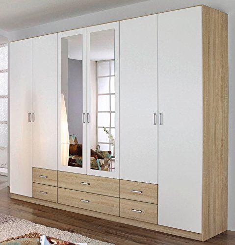 Rauch Kleiderschrank 6-türig, 2 Spiegeltüren, 6 Schubkästen, Eiche Sonoma-alpinweiß