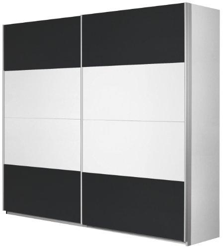 Rauch Schwebetürenschrank Kleiderschrank Weiß Alpin 2-türig, Absetzungen in Grau Metallic Nachbildung, BxHxT 181x210x62 cm