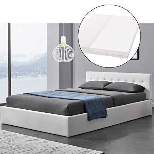 ArtLife Polsterbett Marbella - 140 x 200 cm - weiß mit Lattenrost & Kaltschaummatratze