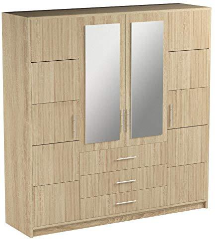 Mirjan24  Drehtürenschrank Bado 4D, Kleiderschrank mit Spiegel, Schubladen und Spiegeltüren, Elegantes Schlafzimmer Schrank, Jugendzimmer